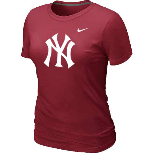 MLB New York Yankees Heathered Red Nike Womens Blended T-Shirt