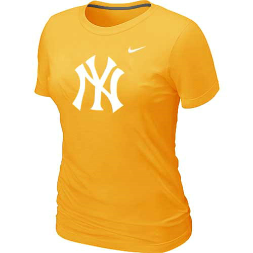 MLB New York Yankees Heathered Yellow Nike Womens Blended T-Shirt