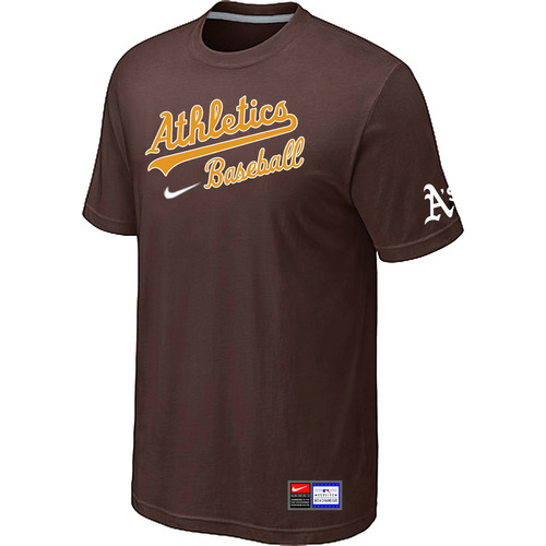 MLB Oakland Athletics Brown Nike Short Sleeve Practice T-Shirt