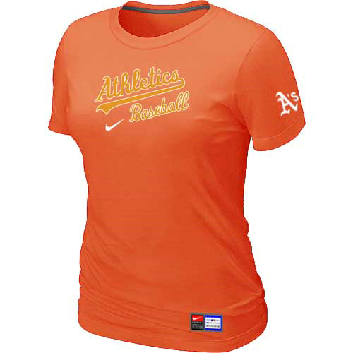 MLB Oakland Athletics Nike Womens Orange Short Sleeve Practice T-Shirt