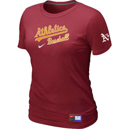 MLB Oakland Athletics Nike Womens Red Short Sleeve Practice T-Shirt