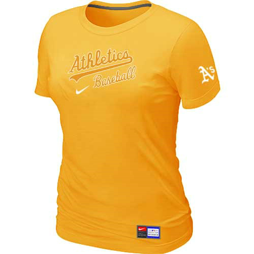 MLB Oakland Athletics Nike Womens Yellow Short Sleeve Practice T-Shirt