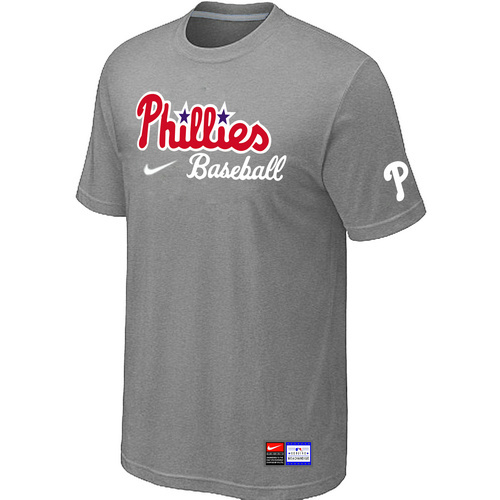 MLB Philadelphia Phillies Nike Short Sleeve Practice T-ShirtL-Grey