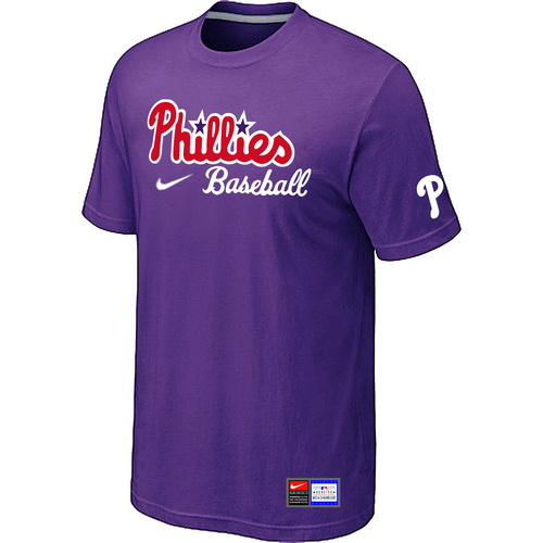 MLB Philadelphia Phillies Nike Short Sleeve Practice T-ShirtPurple