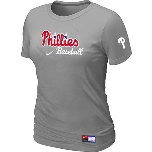MLB Philadelphia Phillies Nike Womens L-Grey Short Sleeve Practice T-Shirt