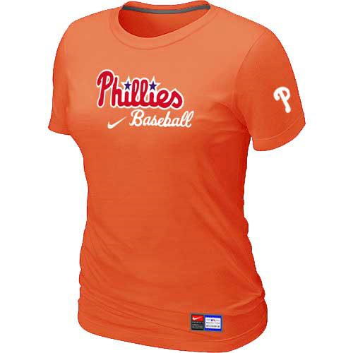 MLB Philadelphia Phillies Nike Womens Orange Short Sleeve Practice T-Shirt