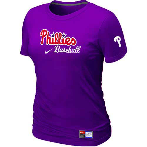 MLB Philadelphia Phillies Nike Womens Purple Short Sleeve Practice T-Shirt