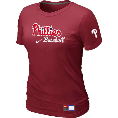 MLB Philadelphia Phillies Nike Womens Red Short Sleeve Practice T-Shirt