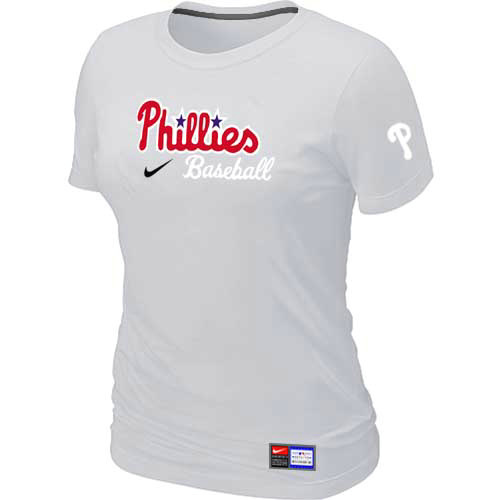 MLB Philadelphia Phillies Nike Womens White Short Sleeve Practice T-Shirt