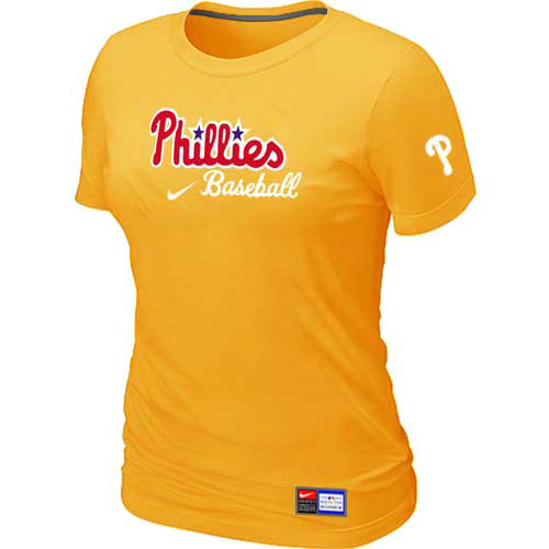 MLB Philadelphia Phillies Nike Womens Yellow Short Sleeve Practice T-Shirt
