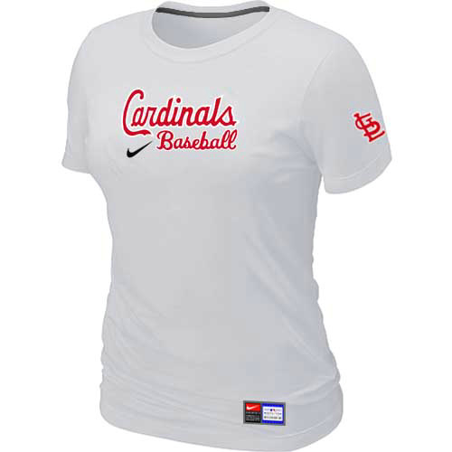 MLB St-Louis Cardinals Nike Womens White Short Sleeve Practice T-Shirt