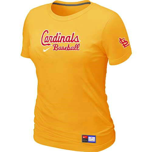 MLB St-Louis Cardinals Nike Womens Yellow Short Sleeve Practice T-Shirt