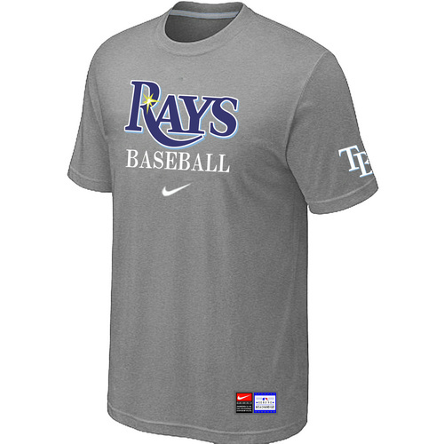 MLB Tampa Bay Rays L-Grey Nike Short Sleeve Practice T-Shirt