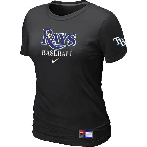 MLB Tampa Bay Rays Nike Womens Black Short Sleeve Practice T-Shirt