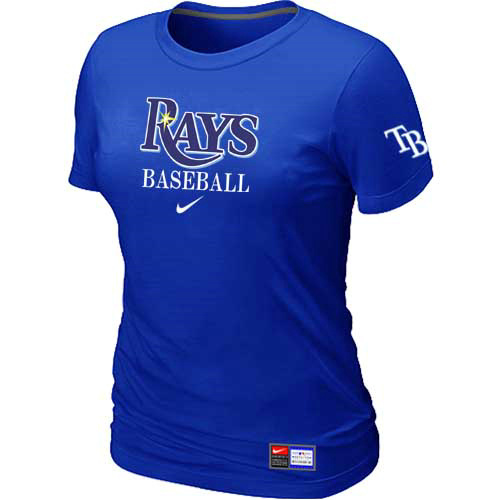 MLB Tampa Bay Rays Nike Womens Blue Short Sleeve Practice T-Shirt