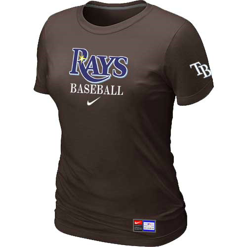 MLB Tampa Bay Rays Nike Womens Brown Short Sleeve Practice T-Shirt