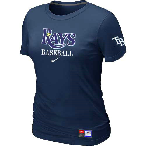 MLB Tampa Bay Rays Nike Womens D-Blue Short Sleeve Practice T-Shirt