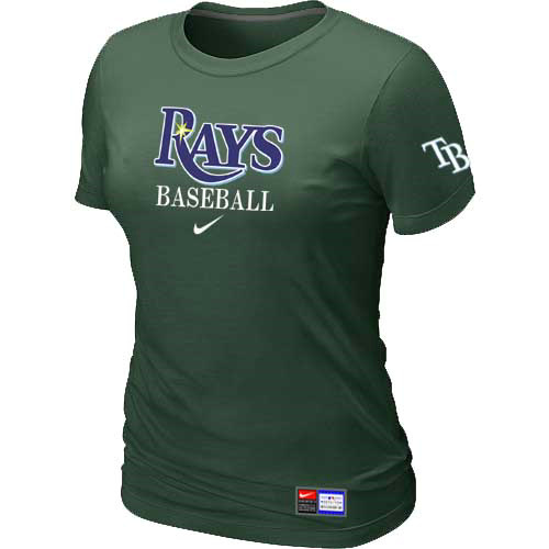 MLB Tampa Bay Rays Nike Womens D-Green Short Sleeve Practice T-Shirt