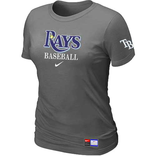 MLB Tampa Bay Rays Nike Womens D-Grey Short Sleeve Practice T-Shirt
