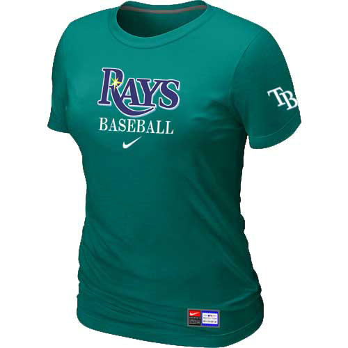 MLB Tampa Bay Rays Nike Womens L-Green Short Sleeve Practice T-Shirt
