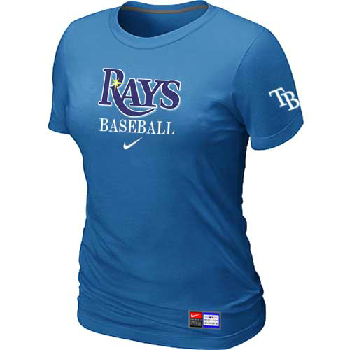 MLB Tampa Bay Rays Nike Womens L-blue Short Sleeve Practice T-Shirt