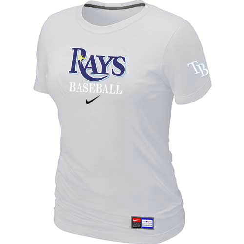 MLB Tampa Bay Rays Nike Womens White Short Sleeve Practice T-Shirt