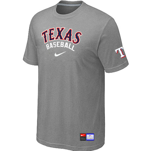 MLB Texas Rangers L-Grey Nike Short Sleeve Practice T-Shirt