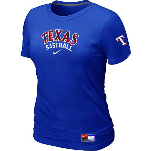 MLB Texas Rangers Nike Womens Blue Short Sleeve Practice T-Shirt