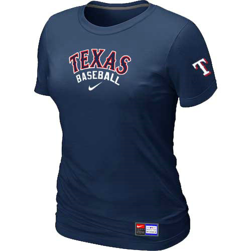 MLB Texas Rangers Nike Womens D-Blue Short Sleeve Practice T-Shirt