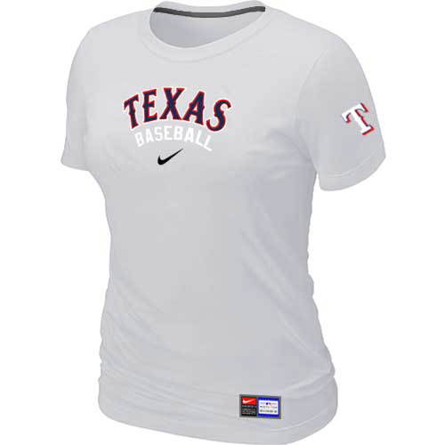 MLB Texas Rangers Nike Womens White Short Sleeve Practice T-Shirt