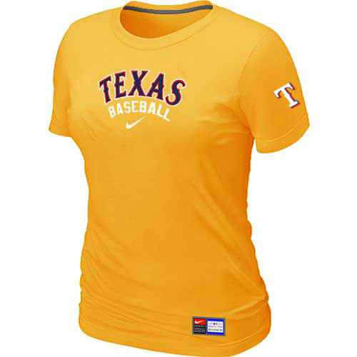 MLB Texas Rangers Nike Womens Yellow Short Sleeve Practice T-Shirt