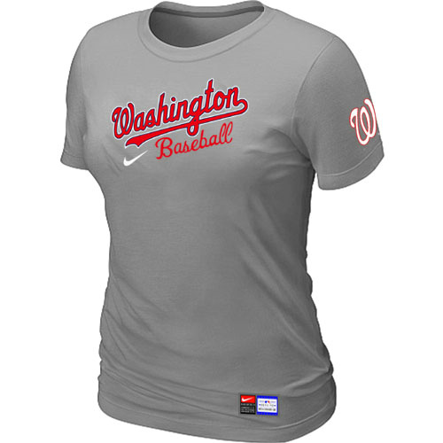 MLB Washington Nationals L-Grey Nike Womens Short Sleeve Practice T-Shirt