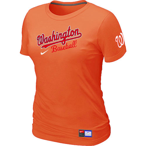 MLB Washington Nationals Orange Nike Womens Short Sleeve Practice T-Shirt