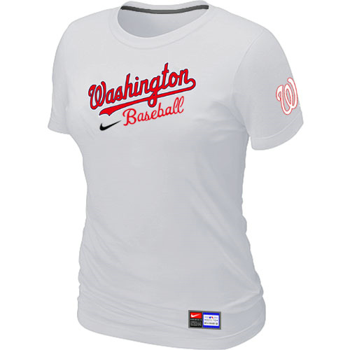 MLB Washington Nationals White Nike Womens Short Sleeve Practice T-Shirt