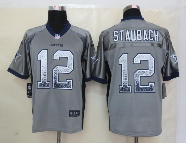 2013 NEW Nike Dallas cowboys 12 Staubach Drift Fashion Grey Elite Jerseys