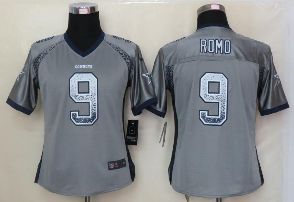 Women 2013 NEW Nike Dallas cowboys 9 Romo Drift Fashion Grey Elite Jerseys