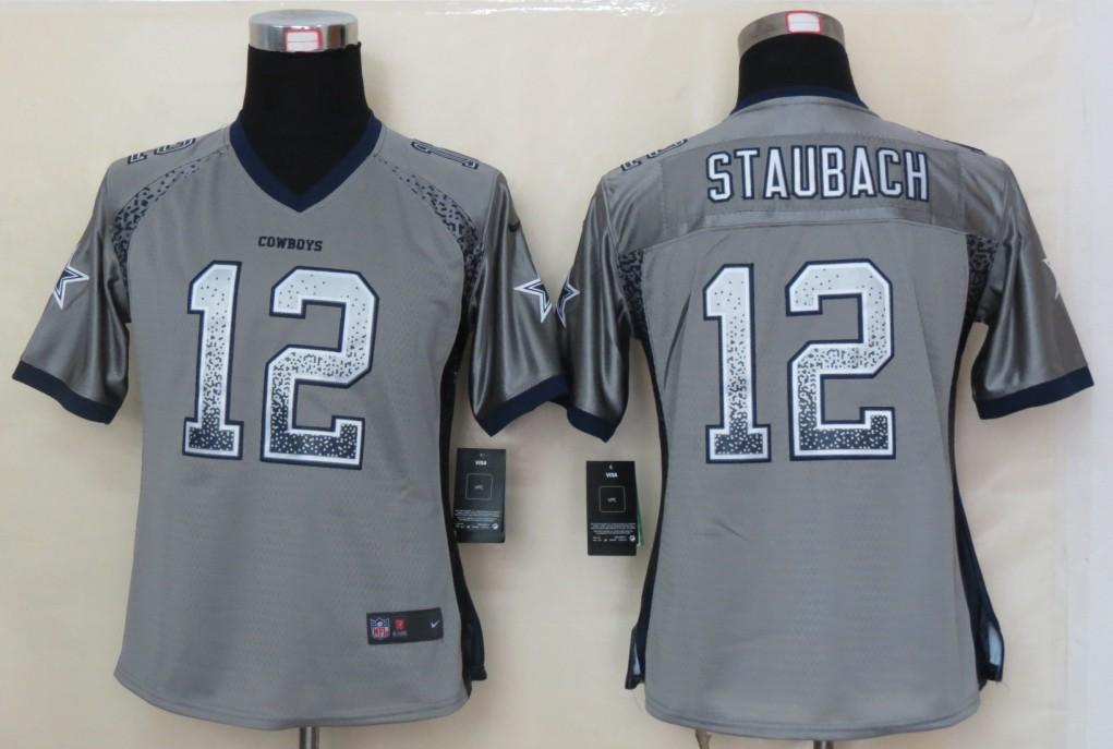 Women 2013 NEW Nike Dallas cowboys 12 Staubach Drift Fashion Grey Elite Jerseys