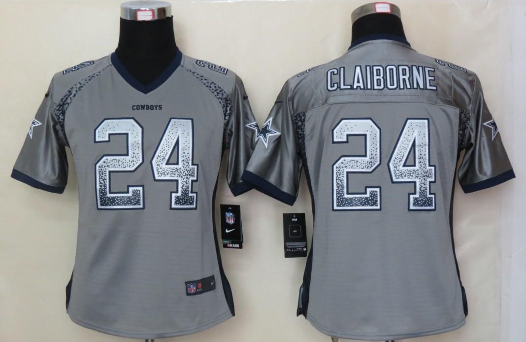 Women 2013 NEW Nike Dallas cowboys 24 Claiborne Drift Fashion Grey Elite Jerseys