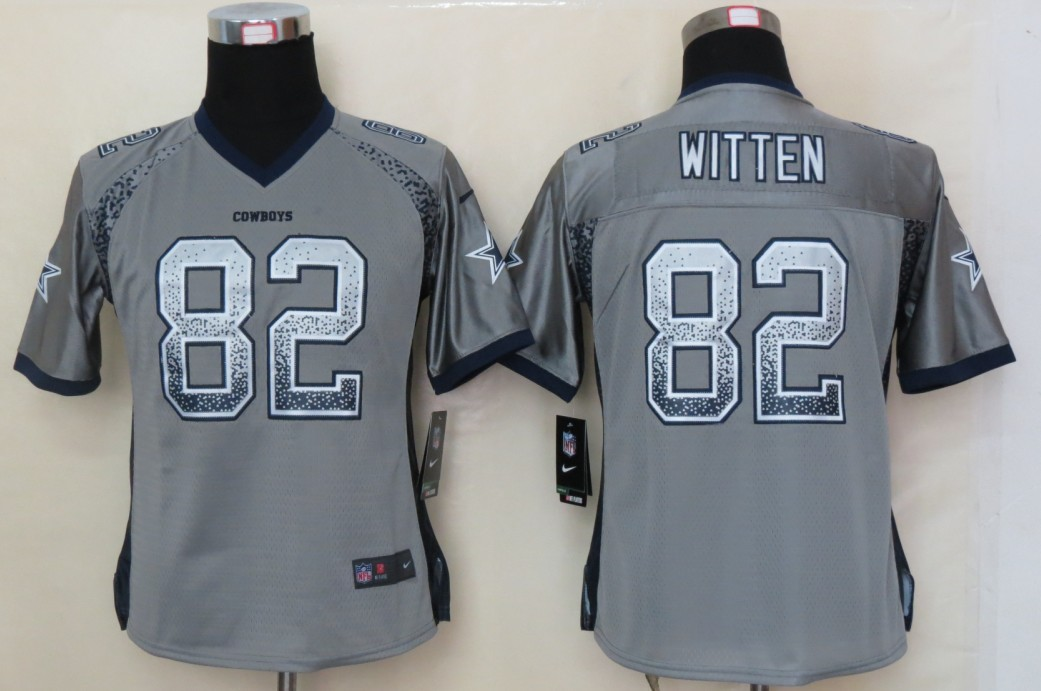 Women 2013 NEW Nike Dallas cowboys 82 Witten Drift Fashion Grey Elite Jerseys