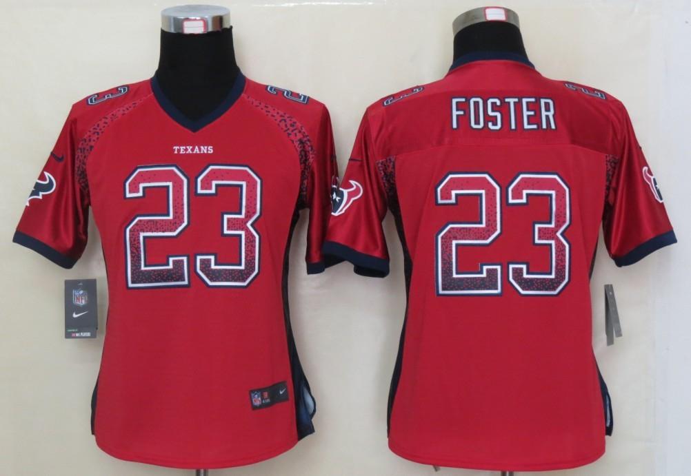 Women 2013 NEW Nike Houston Texans 23 Foster Drift Fashion Red Elite Jerseys