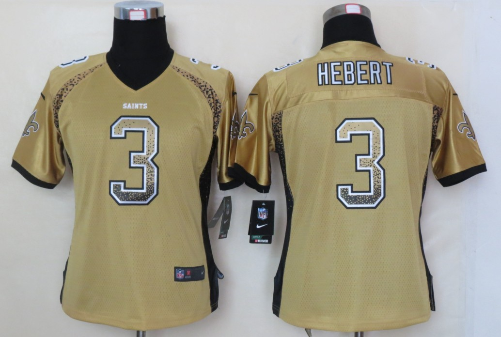 Women 2013 NEW Nike New Orleans Saints 3 Hebert Drift Fashion Gold Elite Jerseys