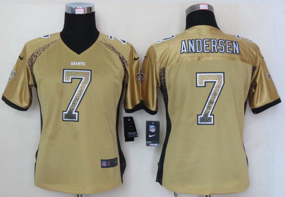 Women 2013 NEW Nike New Orleans Saints 7 Andersen Drift Fashion Gold Elite Jerseys