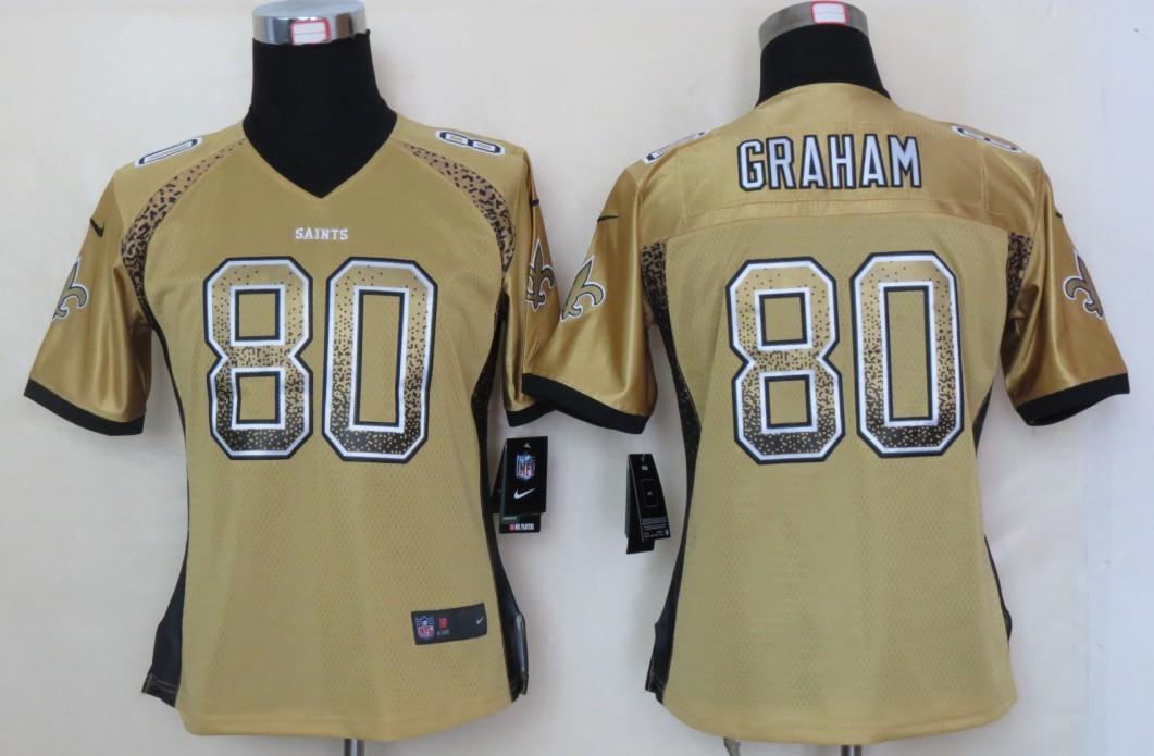 Women 2013 NEW Nike New Orleans Saints 80 Graham Drift Fashion Gold Elite Jerseys