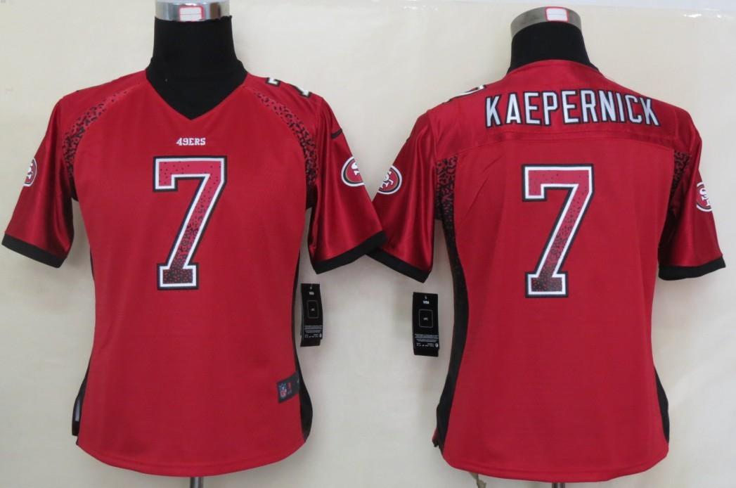 Women 2013 NEW Nike San Francisco 49ers 7 Kaepernick Drift Fashion Red Elite Jerseys