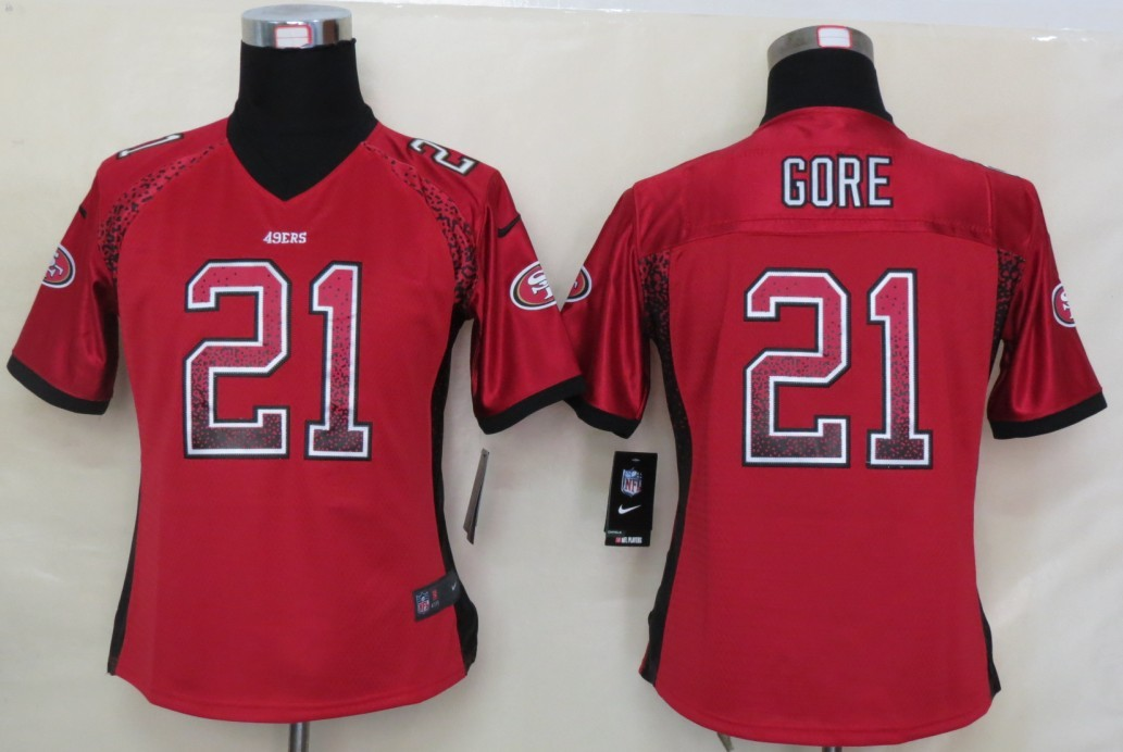 Women 2013 NEW Nike San Francisco 49ers 21 Gore Drift Fashion Red Elite Jerseys