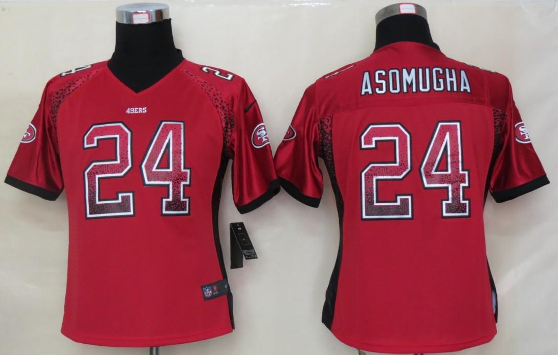 Women 2013 NEW Nike San Francisco 49ers 24 Asomugha Drift Fashion Red Elite Jerseys