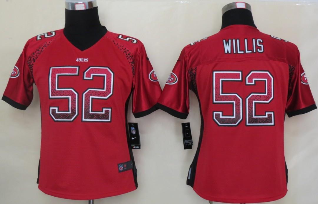 Women 2013 NEW Nike San Francisco 49ers 52 Willis Drift Fashion Red Elite Jerseys