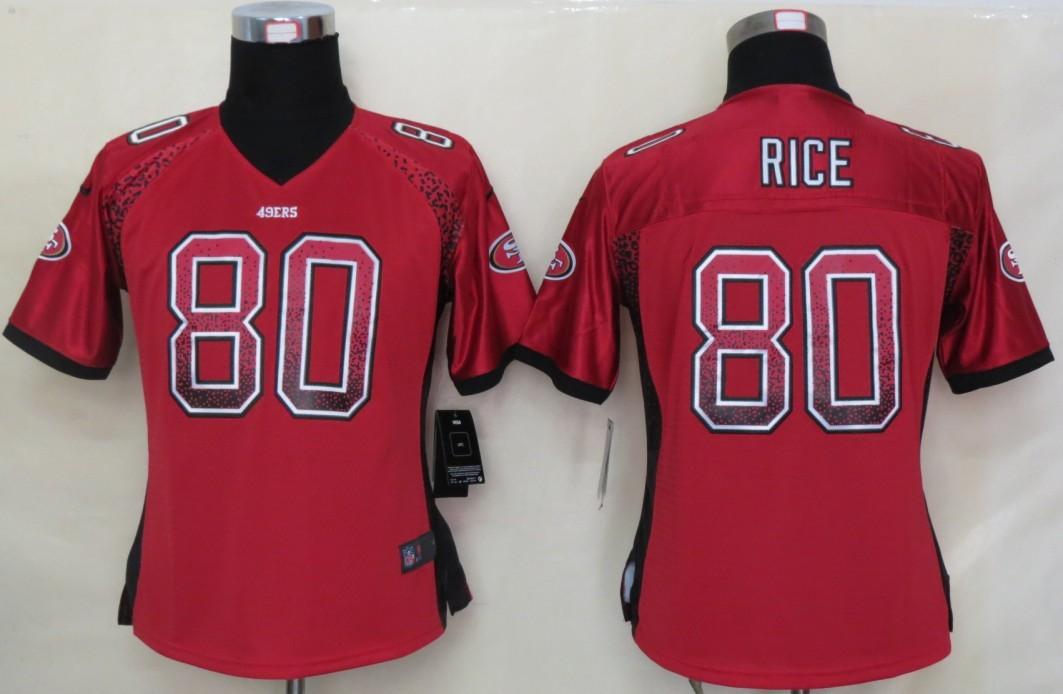 Women 2013 NEW Nike San Francisco 49ers 80 Rice Drift Fashion Red Elite Jerseys