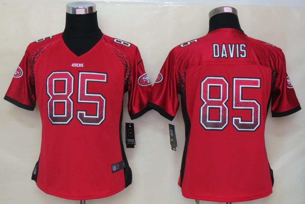 Women 2013 NEW Nike San Francisco 49ers 85 Davis Drift Fashion Red Elite Jerseys