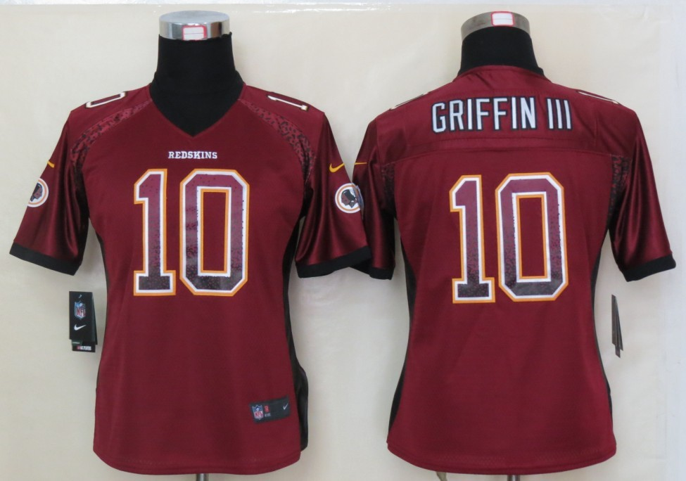 Women 2013 NEW Nike Washington Red Skins 10 Griffin III Drift Fashion Red Elite Jerseys